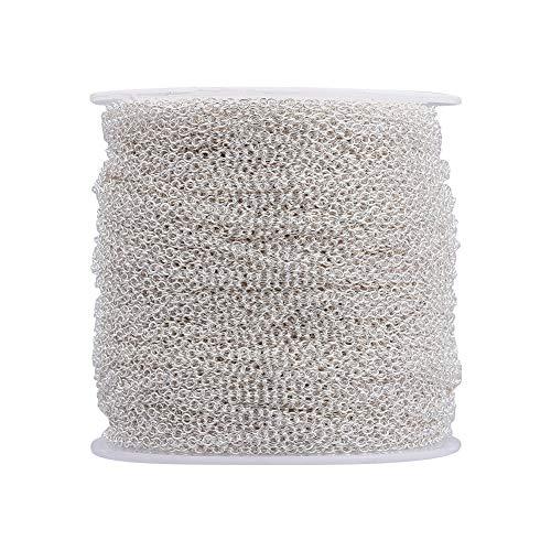 Cheriswelz - Catena a maglia ovale, 2 x 1,5 mm, placcata argento, per realizzare collane, gioielli senza cadmio e senza piombo