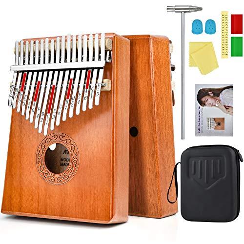 Kalimba 17 Tasti Professionale Calimba Marimba Kalimba Instrument Calimba Strumento Musicale Kalimba Magicsound con Custodia Protettiva, Istruzioni, Martello, Note Adesive e Copri Dita Mbira