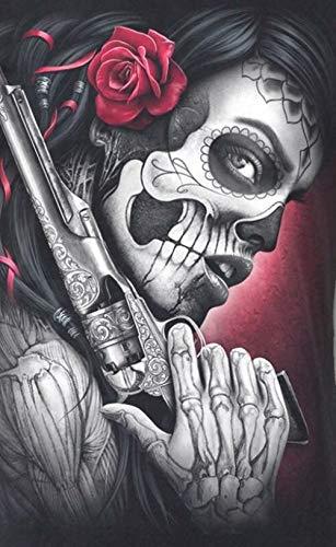 5D Diamanten malerei komplettes Bohr Diamant Gemälde Skull Painting by Numbers Full Drill Strass-Stickerei Kreuzstich-Kits für Kunst Handwerk Leinwand Wand-Dekoration, Mosaik Erwachsene 30 x 40 cm