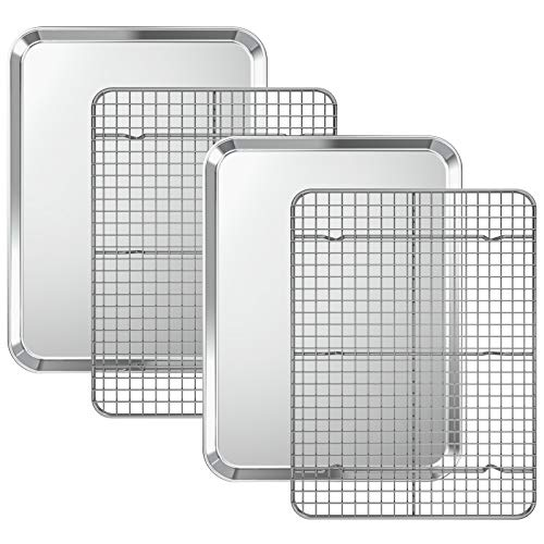 Baking Sheet with Cooling Rack Set [2 Sheets + 2 Racks], Deedro Stainless Steel Cookie Half Sheets Baking Pan Oven Tray with Rack, 16 x 12 x 1 Inch, Heavy Duty, Non-toxic, Easy Clean