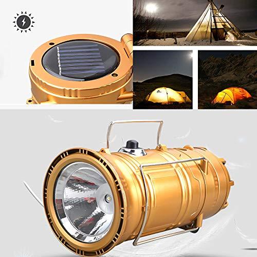 ASNX Laterne Taschenlampe Faltbare Camping Aufladungsnotkampierende teleskopische Pferdelicht LED tragbare Zelt Lithiumbatterie Lampe Taschenlamp Eingebaute Wiederaufladbare USB Lampe,Gold