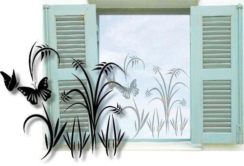 XL Fenstertattoo selbstklebend ~ Blumenwiese mit Schmetterling, Strauch, Pflanzen ~ glas056-57x100 cm 600029 Aufkleber für Fenster, Glastür und Duschtür, Badezimmer Glasdekor Fensterbild, wasserfeste Glasdekorfolie in Sandstrahl - Milchglas Optik