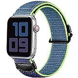 JUVEL Kompatibel mit Apple Watch Armband 38mm 40mm 42mm 44mm, Weiche Nylon Gewebe Sport Schlaufe Ersatz Armbänder Kompatibel mit iWatch Series 6/5/4/SE/3/2/1, 38mm/40mm, Blau Grün