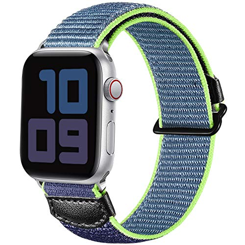 JUVEL Compatibile con Apple Watch Cinturino 44mm 42mm, Morbido Sportivo Cinturini in Nylon di Ricambio Compatibili per Apple Watch Series SE/iWatch 6/5/4/3/2/1, Blu Berde