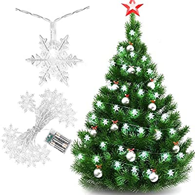 Amazon - Save 50%: HexyHair Snowflake String Lights Battery Operated, 20ft 40 LED White Christmas Tree Lights Indoor for Fairy Winter Themed Bedroom Decorations