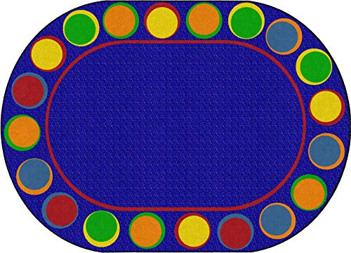 Flagship Carpets FE307-33A Sitting Spots Primary (Seats 20) Children's Classroom Educational Seating Rug, 6'x8'4', Oval