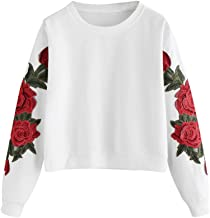 〓COOlCCI〓Pullover Tops for Women,Long Sleeve Round Neck Rose Embroidered Shirts Sweatshirt Blouse Tunic Crop Tops Tees