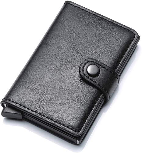 Credit Card Holder for Men, Leather Slim Wallet RFID Blocking Pop Up Aluminum Card Case High Capacity Credit Cards Wallet (Black)