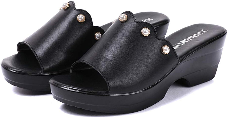 Hoxekle Woman's Faux Pearl Wedge Platform Sandals Open Toe Summer Female Casual Fashion Walk Sandals