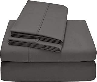 Rajlinen Split Head Flex Sheet Set for Split at The top or Flex Head of The Mattress- Split 34″inches Down from The top King Size 400 TC 100% Cotton Dark Gray Solid