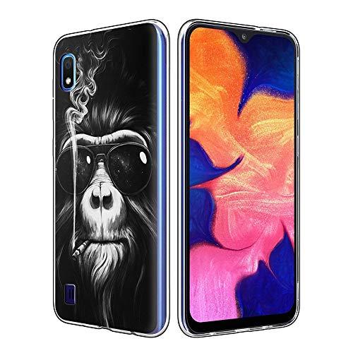 Yoedge Funda SamsungGalaxyA10, Ultra Slim Cárcasa Silicona Transparente con Dibujos Animados Diseño Patrón 360 Bumper Case Cover para SamsungGalaxyA10 Smartphone (Orangutan)