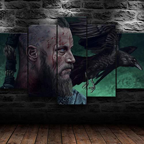 5 Piezas Cuadro sobre Lienzo De Fotos Programa de televisión irlandés Ragnar Vikings Lienzo Impresión Cuadros Decoracion Salon Grandes Cuadros para Dormitorios Modernos Mural Pared Listo para Colgar