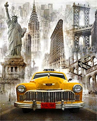 DIY-Ölgemälde-Kit, Malen nach Zahlen für Kinder und Erwachsene - New York taxi 16 x 20 Zoll (Ohne Rahmen)