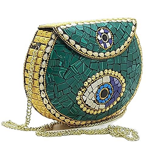 Gauri Indian étnico Piedras Verdes embrague de metal/Bolsa de embrague de mosaico...