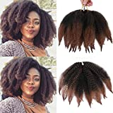 ALENTOO Marley Braiding Hair 3pcs Marley Kinky Crochet braids Marley Hair for Twists 8inch Short Afro Kinky Twist Crochet Hair Synthetic 2 Tone Mixed Colour Marley Hair Extensions(T/30#)