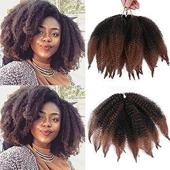 ALENTOO Marley Braiding Hair 3pcs Marley Kinky Crochet braids Marley Hair for Twists 8inch Short Afro Kinky Twist Crochet Hair Synthetic 2 Tone Mixed Colour Marley Hair Extensions T/30#