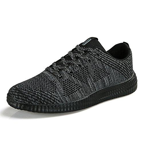 Homme Femme Chaussures de Running pour Course Sports Fitness Gym athlétique Sneakers,Noir Gris,41 EU