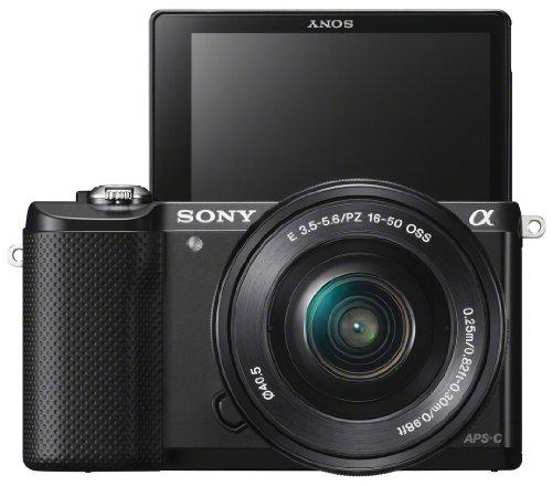 Sony Alpha 5000 Systemkamera (Full HD, 20 Megapixel, Exmor APS-C HD CMOS Sensor, 7,6 cm (3 Zoll) Schwenkdisplay) schwarz inkl. SEL-P1650 & SEL-55210 Objektiv