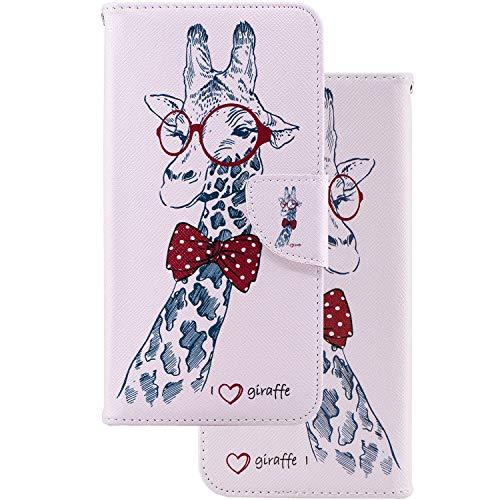 LEMORRY Coque pour Xiaomi Redmi Note 7 (Pro) Coque Cuir Housse Flip Pochette Portefeuille Mince Bumper Protecteur Magnétique Fente Carte Silicone TPU Cover Etui pour Redmi Note 7, Girafe
