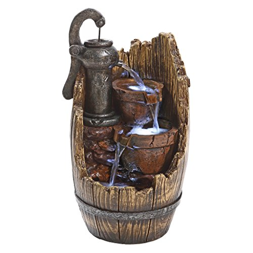 Water Fountain with LED Light - Farm Cistern Wood Barrel Garden Decor Tabletop Fountain - Desk Fountain Water Feature