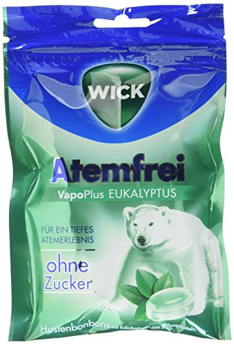 WICK Atemfrei Eukalyptus ohne Zucker, 10er Pack (10 x 72 g)