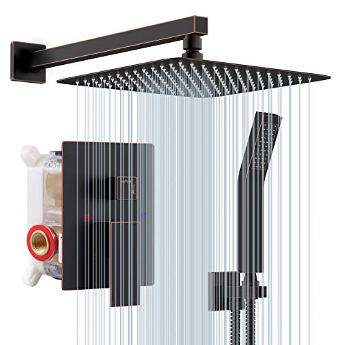 S R SUNRISE Duschsystem Unterputz- Öl eingerieben Bronze - Hochmoderne Air Injection-Technologie - 25 * 25CM Quadratischer Regenduschkopf - Messing und Edelstahl