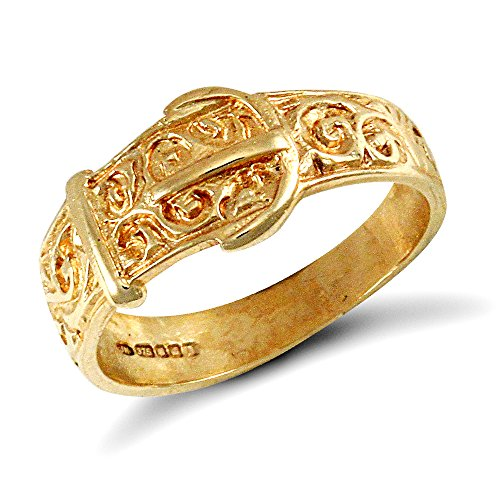 Jewelco London Kids Solid 9ct Yellow Gold Carved Buckle Baby Ring, Size F