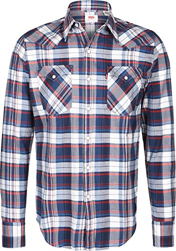 Levi's Mens Barstow Checked Shirt Blue Size S