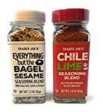 A fabulous bundle of Trader Joe's Popular Seasoning Salts - includes one 2.9 oz shaker bottle of Chile Lime Seasoning Blend and one 2.3 oz shaker bottle of Everything but the Bagel Sesame Seasoning Blend Chile Lime Seasoning is a blend of salt, chile...