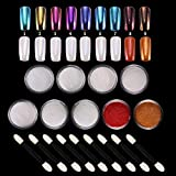 LABOTA 9 Boxes Shell Polvere Effetto Specchio, Pearl Powder Nails Art Glitter Chrome Metallic Manicure Pigment with 9 pcs Eyeshadow Sticks
