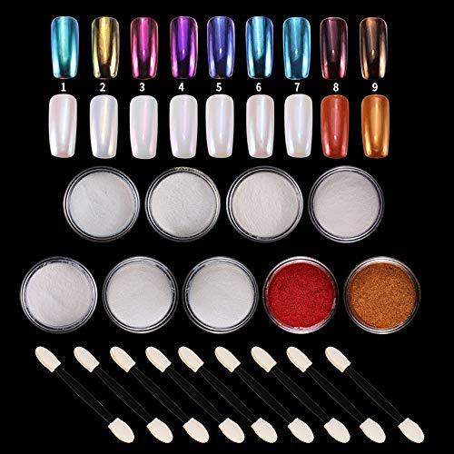 LABOTA 9 Boxen Nagelpuder Set, Chrome-Pigmente Mermaid Pearl Spiegelpulver für Maniküre