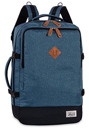 Reiserucksack Cabin Size Bordgepäck Reisetasche gepolstertes Laptop Fach Rucksack Melange Blau