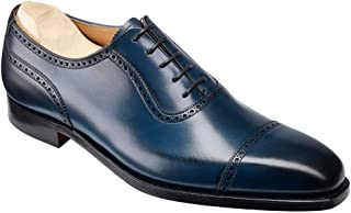 Costoso Italiano Navy Blue Leather Formal Lace Up Oxford Brogue Dress Shoes for Men