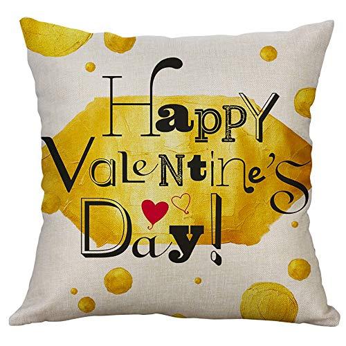 Mamum Housse de Coussin en Lin série d'amoureux Saint Valentin taie d'oreiller Housse de Coussin Voiture taie d'oreiller 45X45cm (C)