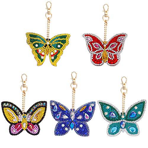 5D Diy Diamant Malerei Schmetterling Geformt Schlüsselbund Anhänger Handwerk für Tasche Geldbörse Handtasche Geburtstagsgeschenk