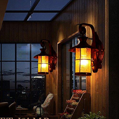 YU-K Antieke stijl wandlamp strijkijzer mediterrane buitenruimte muur off-road licht bruin licht persoonlijkheid creatieve barmuur voor terras tuin buiten terras licht ideaal is