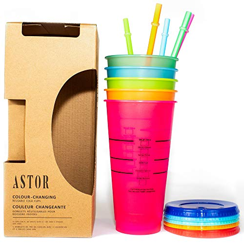 ASTOR - Color Changing Cups | Set of 5 Reusable Cups with Lids and Straws | 24 Ounce Cold Cup | Iced Coffee Tumblers