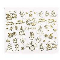 クリスマス新年ネイルマニキュアツール5.3x6.2cmのための1つのパソコンゴールドシルバークリスマスデザインのネイルアートステッカー冬の雪の花スライダー CHAOCHAO (色 : STZ Y18 Gold)