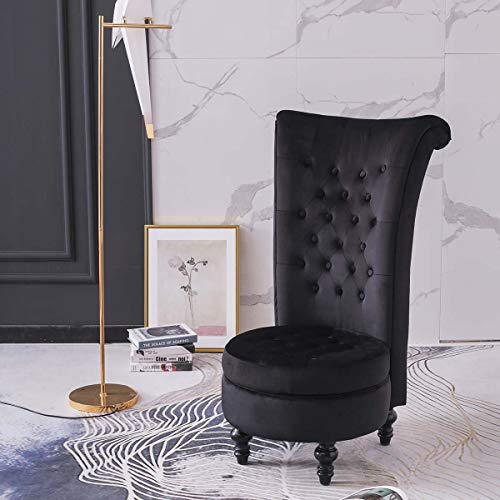 Hironpal Black Velvet Accent Chair High Back with Storage Occasion Chair Dressing Chair Throne Chair Fireside Chair with Orbicular Legs for Living Room, Bedroom