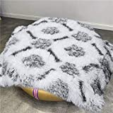 Comeet Soft Fluffy Pet Blanket for Dog Cat, Warm Plush Cover for Puppy Kitten, Faux Sherpa Throw Fuzzy Fur, White Furry Blanket with Dog Foot Print Double Layers Sleep Mat Bed Couch Car 20' x 30'