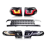 MOSTPLUS LED Halo Projector Headlights & Grille & Tail Light Compatible for 2007-2014 Toyota FJ Cruiser(Led H7 Bulb Included)