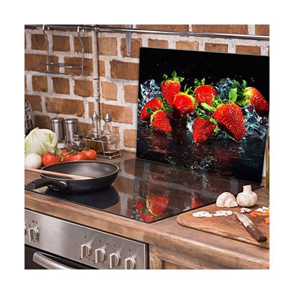 Placa protectora de vitrocer/ámica de vidrio templado como decoraci/ón protecci/ón contra salpicaduras para inducci/ón 1 pieza universal 60 x 52 cm tabla de cortar para placas de cocina