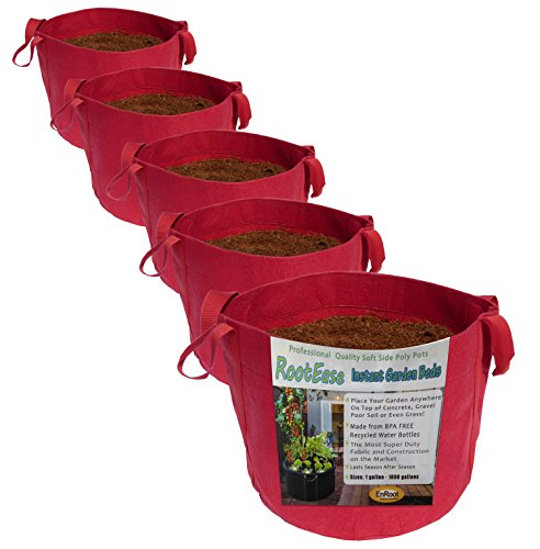 RootEase 5-Pack Garden Planting Aeration Fabric Pot, Heavy Duty Durable Grow Bags/Planter, Raised Bed Gardening, Best Air-Pruning Root Treatment Eco-Friendly Grow Bags with Handles (5 Gallon, Red)