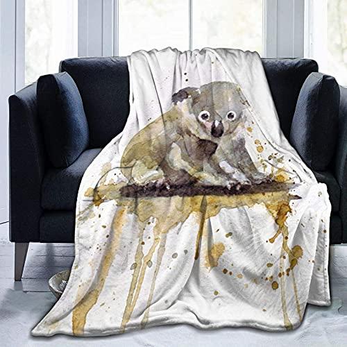 Manta de Felpa Suave Cama Koala de Acuarela Manta Gruesa y Esponjosa Microfibra, Suave, Caliente, Transpirable para Hogar Sofá , Oficina, Viaje