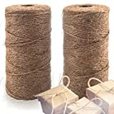Natural Jute Twine 2 Pack - Crafting String for Craft Projects, Wrapping, Packing, Gardening and More – 200m High Quality 3ply Jute to Use Around The House and Garden.