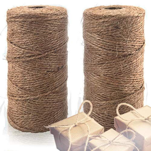 Natural Jute Twine 2 Pack - Crafting Twine String for Craft Projects, Wrapping, Packing, Gardening and More - 656 Feet of 3ply Jute Rope to Use Around The House and Garden.