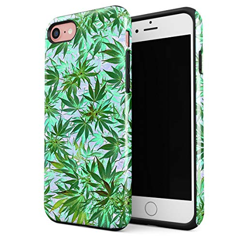 Cover per iPhone 7/8 / SE 2020 Case Weed Marijuana Mary Jane 420 Stoned Resistente agli Urti, Guscio Rigido a 2 Strati in PC + Custodia Protettiva in TPU a Design Ibrido
