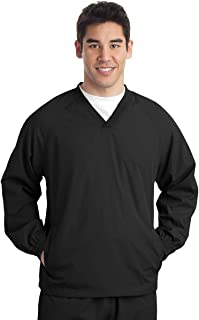 Men's Rib Knit V-Neck Collar Soft Raglan Wind Shirt