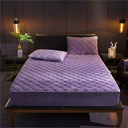 Mattress Cover Super King,Polyester Crystal Velvet Solid Color Mattress Cover, Flannel Extra-Thick Warmth Single And Double Fitted Sheets-Lavender_100x200+30cm