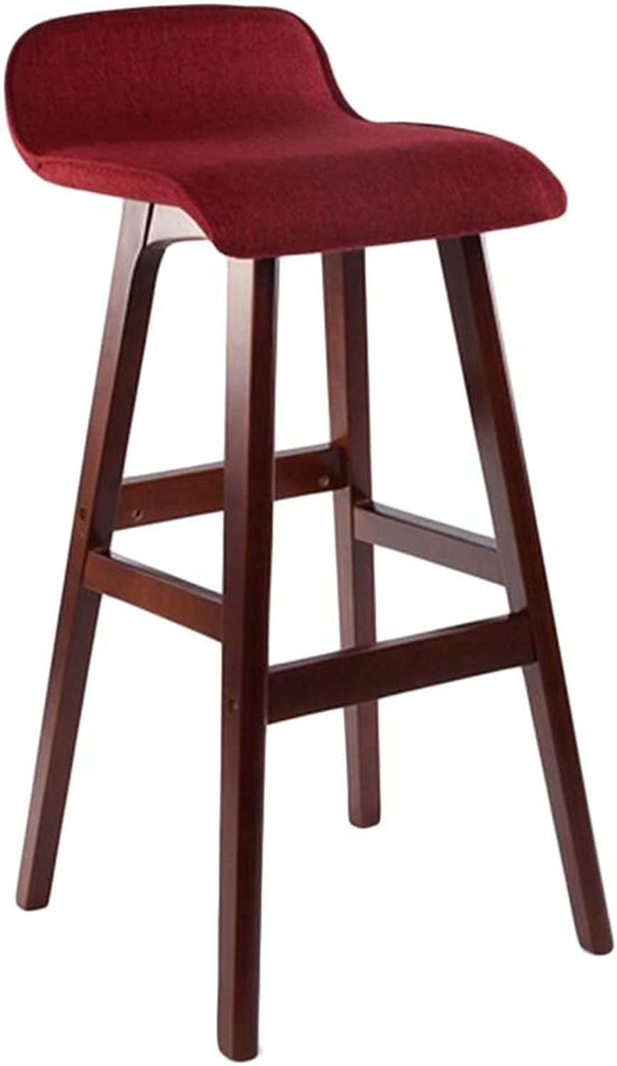 BARSTOOLRI Bar Stool with Backrest, Solid Wood Non-Slip Ergonomic Wine Red Removable Cushion Cover High Chair for Living Room Kitchen Office Garden (Size   Short)